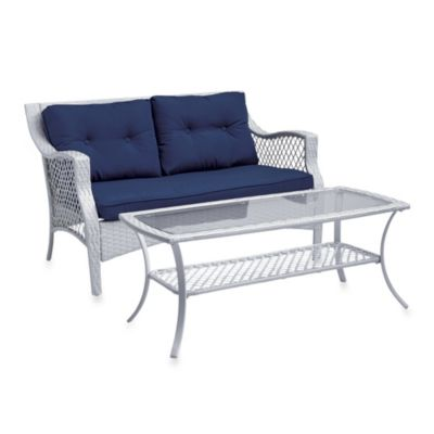 Stratford 2-Piece Wicker Loveseat Set in Blue