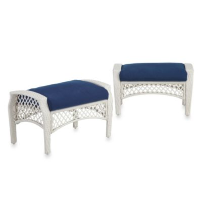 Stratford Wicker Ottoman in Blue (Set of 2)