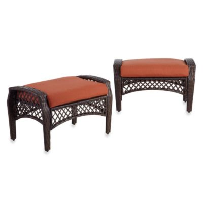Stratford Wicker Ottoman in Mist (Set of 2)