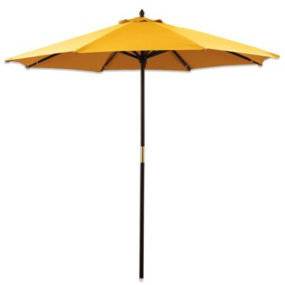 9-Foot Round Hardwood Umbrella in Yellow