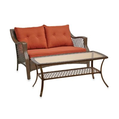 Stratford 2-Piece Wicker Loveseat Set in Red