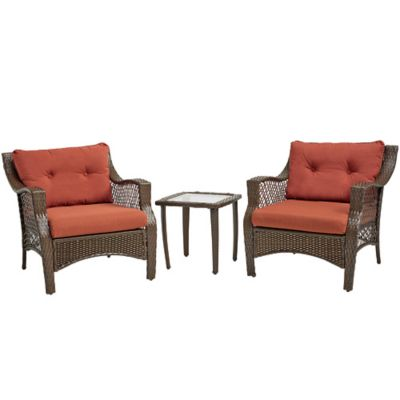 Stratford 3-Piece Wicker Chair Set in Red