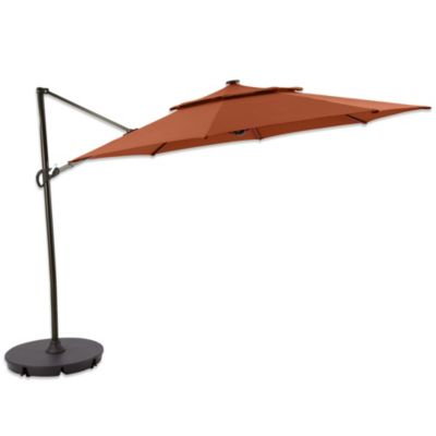 11-Foot Round Solar Cantilever Umbrella in Terracotta Stripe