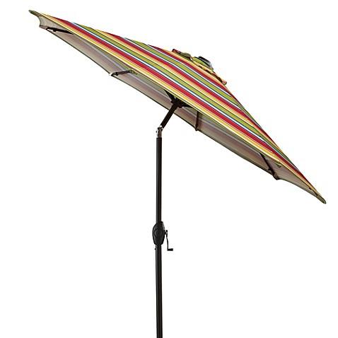 7 Foot Round Bistro Aluminum Umbrella In Multi Stripe