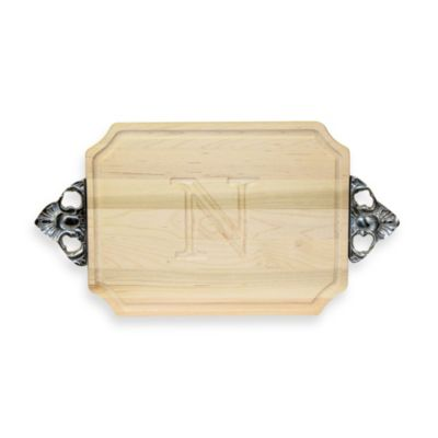 Chubbco Monogrammed Letter N Hard Maple Cutting Board With Handles