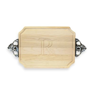 Chubbco Monogrammed Letter R Hard Maple Cutting Board With Handles