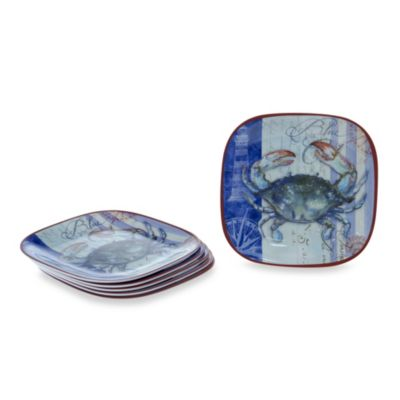 Certified International Blue Crab Melamine Square 8.5-Inch Salad/Dessert Plate (Set of 6)