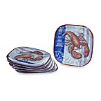 Certified International Lobster Melamine Square 10.5-Inch Dinner Plates (Set of 6)