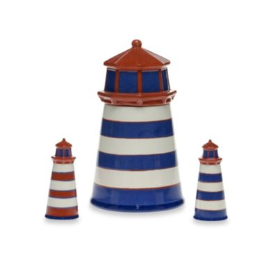 Certified International Blue Crab and Lobster 3D Lighthouse Cookie Jar and Shaker Set