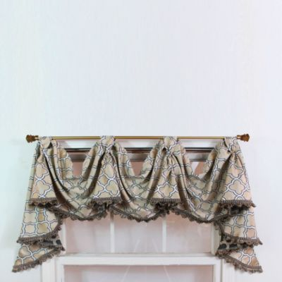 RL Fisher Churchill 3-Scoop Victory Window Curtain Swag Valance in Beige
