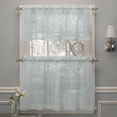 Crushed Voile Window Curtain Valance in Spa