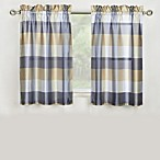 Mystic Plaid Kitchen Window Curtain Tier Pair and Valance in Grey