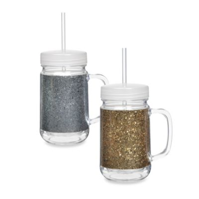 Glitter 22-Ounce Acrylic Mason Jar with Lid & Straw