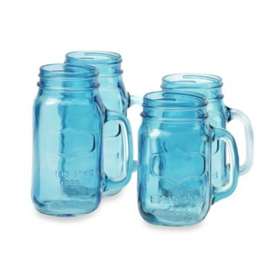 Blue Handle Drinking Jar