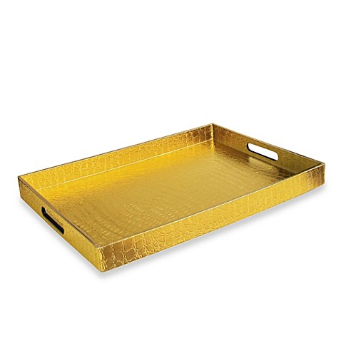 Buy Alligator Rectangular Serving Tray In Gold From Bed