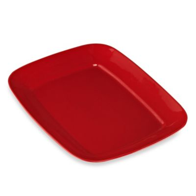 Real Simple® Large Rectangular Rim Serving Platter in Red