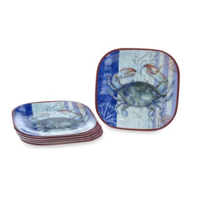 Certified International Blue Crab Melamine Square 10.5-Inch Dinner Plates (Set of 6)