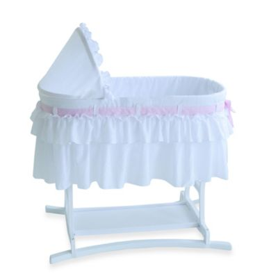 Lamont Home™ Good Night Baby Bassinet in White with Half Skirt