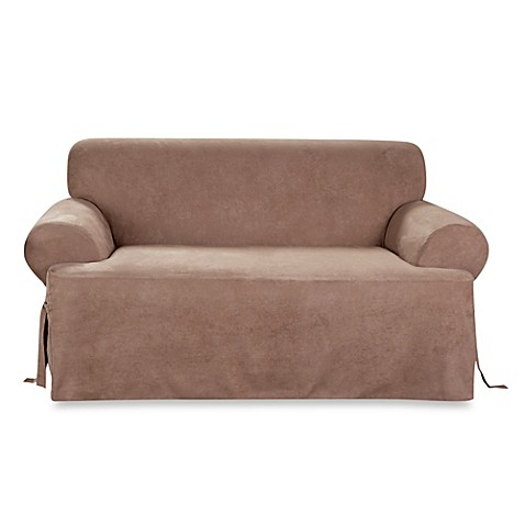 sure fit 174 soft suede t cushion loveseat slipcover in