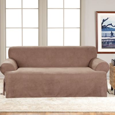 Sure Fit® Soft Suede T-Cushion Sofa Slipcover in Sable