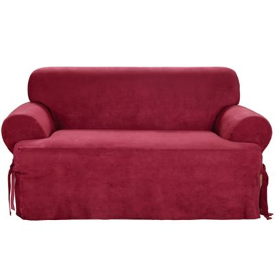 Sure Fit® Soft Suede T-Cushion Loveseat Slipcover
