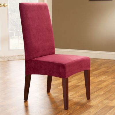 Sure Fit® Soft Suede Shorty Dining Room Chair Slipcover in Burgundy