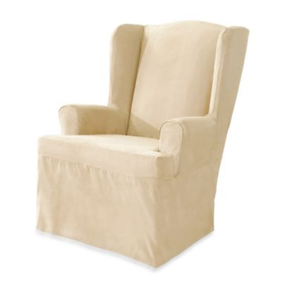 Sure Fit® Soft Suede Wing Chair Cover in Cream