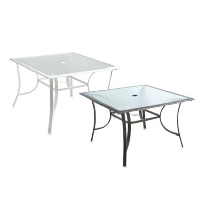 44-Inch Square Glass Dining Table
