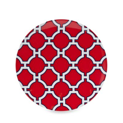 Geometric Red/Navy 10.5-Inch Round Dinner Plate