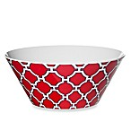Geometric Red/Navy 10.6-Inch Round Salad Bowl