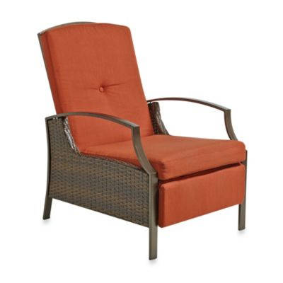 All-Weather Wicker Recliner with Terracotta Cushion