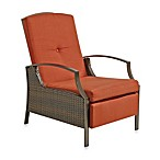 Wicker Adjustable Recliner with Cushion in Terracotta