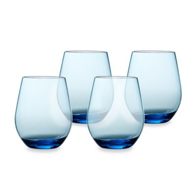 Cool Blue 20-Ounce Stemless Red Wine Glasses (Set of 4)