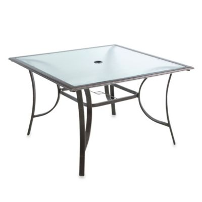 44-Inch 4-Person Square Glass Top Dining Table