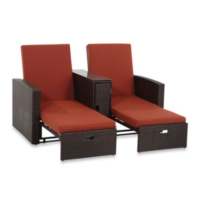 Wicker Double Chaise Lounge in Terracotta