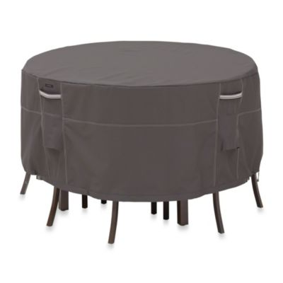 Classic Accessories® Ravenna Large Round Patio Table and Chair Set Cover in Dark Taupe