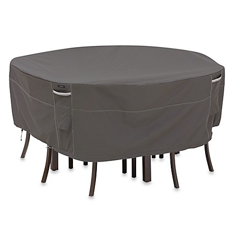 ravenna large round patio table and chair set cover in dark taupe
