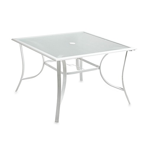 44 Inch 4 Person Square Glass Top Dining Table In White
