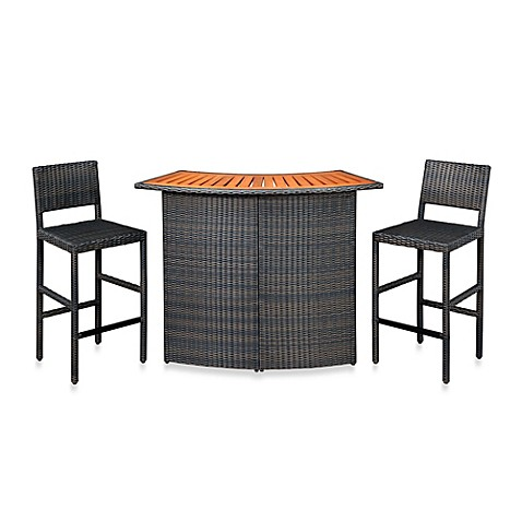 Home Styles Riviera Outdoor Woven Bar And Two Stools Bed Bath Beyond