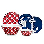Geometric Red/Navy Dinnerware Collection