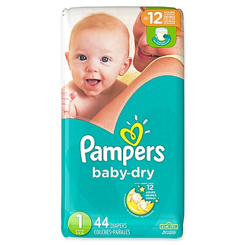 pampers baby dry 44 count size 1 jumbo pack disposable. Black Bedroom Furniture Sets. Home Design Ideas