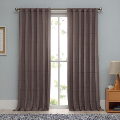 Real Simple® Linear 84-Inch Woven Ribbed Matelasse Window Curtain Panel in Mocha