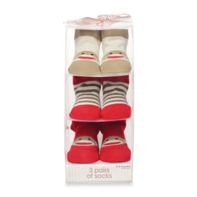 Baby Starters® Sock Monkey 3-Pack Socks in Iconic Red