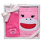 Baby Starters 2-Piece Sock Monkey Diaper Pant and Hat Gift Set in Pink