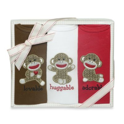 Baby Starters Sock Monkey 3-Pack Bodysuits in Red