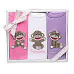 Baby Starters Sock Monkey 3-Pack Bodysuits in Pink