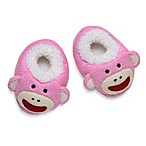 Baby Starters Sock Monkey Plush Slippers in Pink