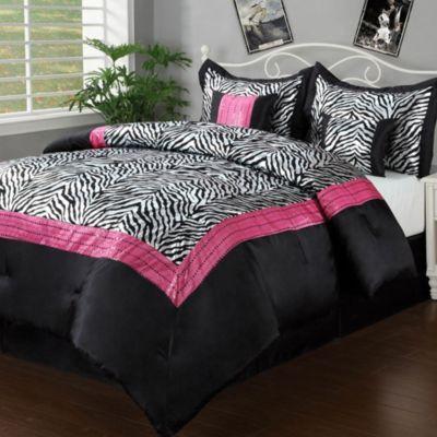 Sassy Zebra Full 6 Piece Comforter Set in Black/Pink