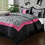 Sassy Zebra 5-6 Piece Comforter Set in Black/Pink