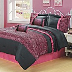 Slumber Party 5-6 Piece Comforter Set in Black/Pink